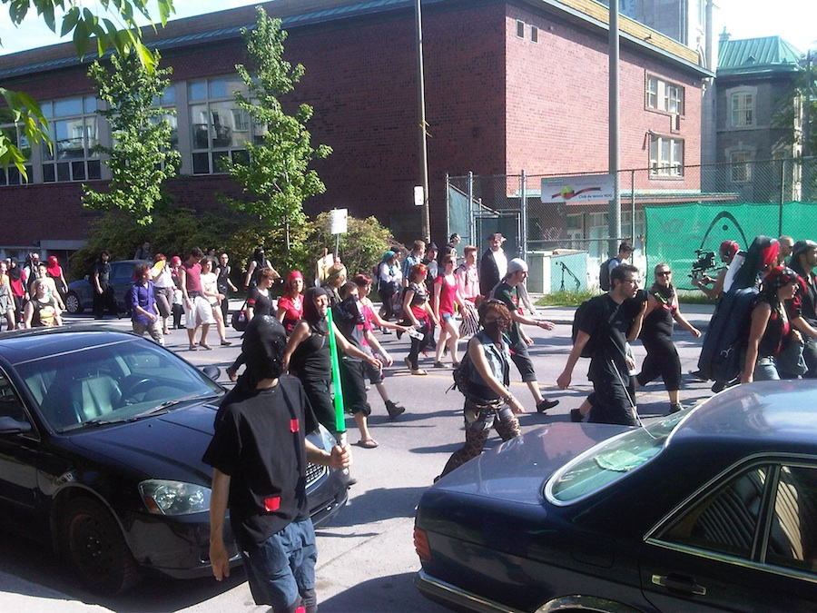 Pirates and ninjas protest passes The Senior Times offices on Dcarie Blvd. in May 2012. Most protests have been peaceful.