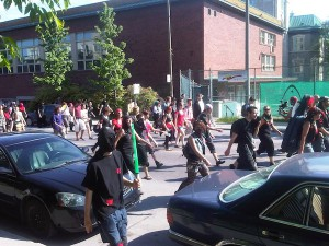 Pirates and ninjas protest passes The Senior Times offices on Décarie Blvd. in May 2012. Most protests have been peaceful.