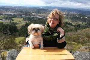 Elizabeth May and Spunky take a break from the hurly-burly of Parliament. Photo: Laura Keil, Rocky Mountain Goat News