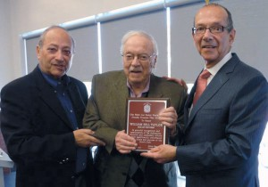 Man of the Year Bill Taylor is flanked by club president Sidney Margles and MNA Lawrence Bergman.