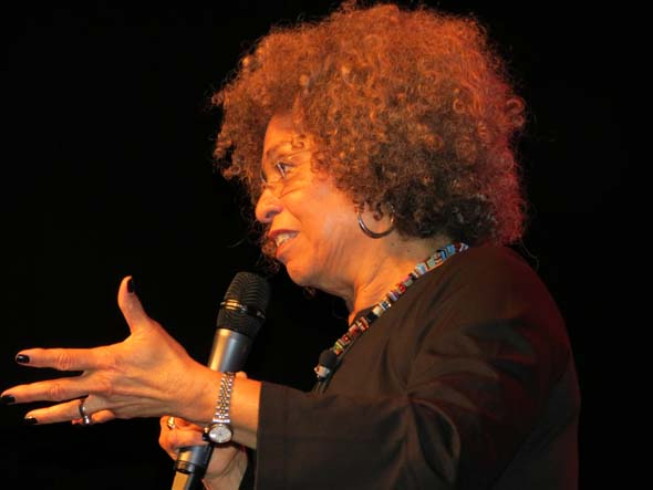 Angela Davis speaks in Montreal during Black History Month in February 2013. (Photo: Irwin Block)