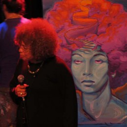 Angela Davis speaks during Black History Month in Montreal in February 2013. (Photo by Irwin Block)