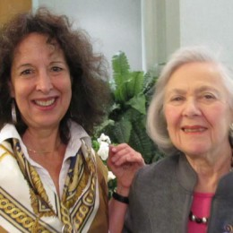 Sharon Gubbay Helfer (left) with  Beryl Moser. Together, the women  embarked on a storytelling journey. (Photo by Kristine Berey)