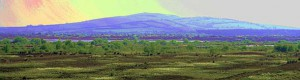 Enhanced vision of Croghan Hill rising from the bog in Ireland. The word bog is a 16th-century adaptation of the Irish bogach.  (Photo: Sarah777)