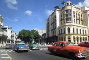 Antique cars and architecture in Havana. (Photo by Mark Medicoff)