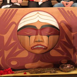 The TRC Bentwood Box, carved by Coast Salish artist Luke Marston, is a symbolic tribute to the strength and resilience of the residential school survivors and their descendants. The box travels with the TRC and is present during all sharing circles, where it serves to gather personal reflections on healing and reconciliation. At the end of the TRC's mandate, the box will be housed in the National Research Centre.