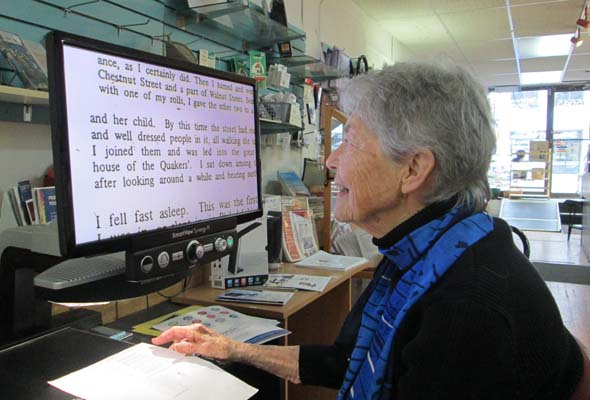 Joan Wright, who has low vision, operates a store to help people like herself. (Photo by Kristine Berey)
