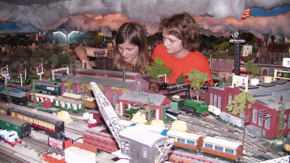 Children play and learn at the train exhibition. (Photo: Ivan Dow)