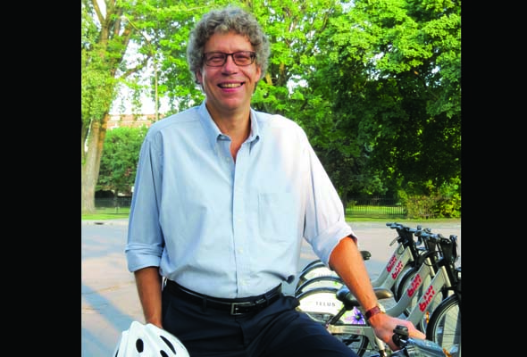 Avid cyclist Russell Copeman wants to fix crumbling urban infrastructure. (Photo by Irwin Block)
