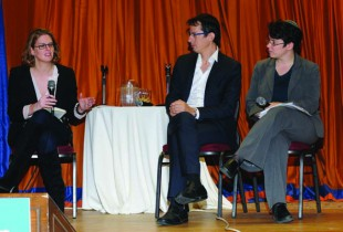 Panelists Mira Sucharov (from left), Hagai El-Ad and Rabbi Lisa Grushcow. (Photo courtesy of New Israel Fund Canada)