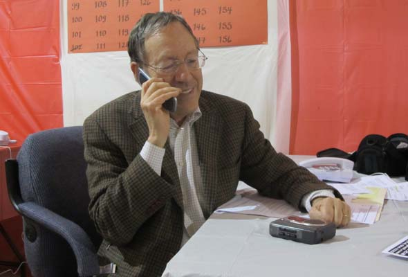 Irwin Cotler hard at work. (Photo by Kristine Berey)