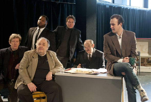 R.H. Thomson, Michel Perron, Tristan D. Lalla,  Brett Watson, Daniel Lillford, Graham Cuthbertson  in Glengarry Glen Ross at the Segal Centre. (Photo: Andrée Lanthier)