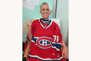 Allan Small with a No. 76 Canadiens  jersey — just like P.K. Subban. (Photo: Sharonne Cohen)