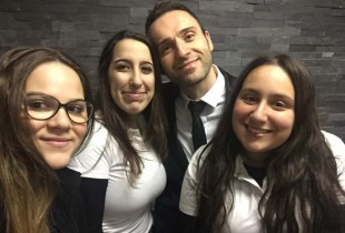Laurier-MacDonald students (L to R):  Alessia Collaci, Francesca Varrone, animator Vince Lacroce, Kayla Panacui.