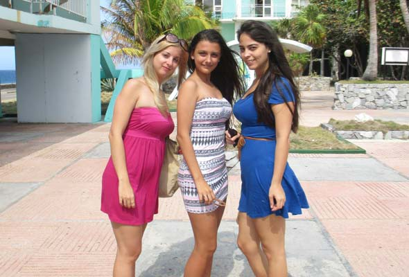 Paola, Emily, and Carolina enjoy a day at the Riviera pool in Cuba