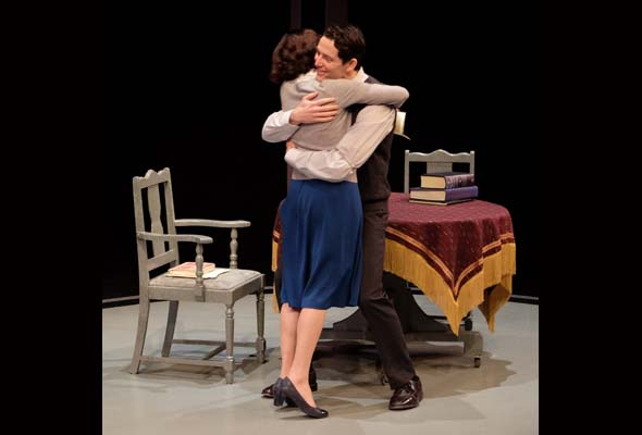 Sara Farb and Brett Donahue in The Secret Annex at the Segal Centre. Photo: Marc Laliberte