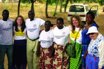 Three generations of Abracen, Lambert Family L to R: Alice Abracen, Ann Lambert, and the Sister Gisele Leduc at far right, with Malawi friends.