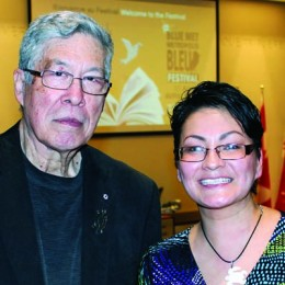 Thomas King and Rosanna Deerchild at Blue Metropolis last month. Photo by Kristine Berey.