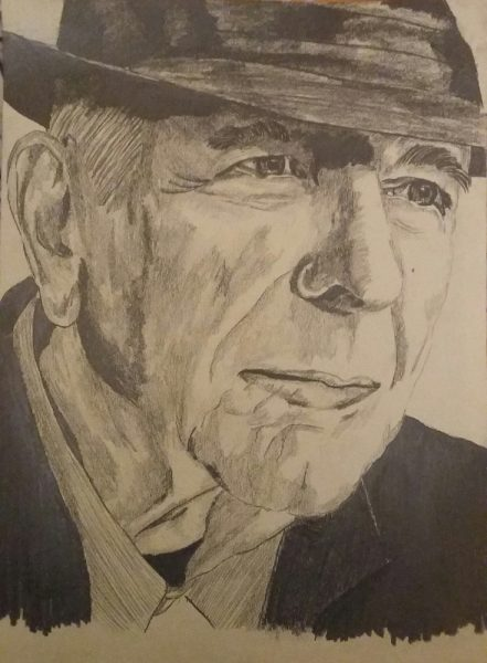 leonard cohen pencil drawing