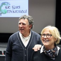 Co-founder and director Lynn Doyle with Ciné Gael's program director Tim Hine: the 25th edition of the festival kicks off Friday with The Young Offenders. Marie-France Coallier / MONTREAL GAZETTE  MONTREAL, QUE.: JANUARY 17, 2017 -- Lynn Doyle, right, co-founder and director of Ciné Gael, stands next to festival's program director Tim Hine, left, in the Hall building's auditorium at Concordia University on January 17, 2017. Ciné Gael is a Irish film festival which celebrates its 25th anniversary this year.(Marie-France Coallier / MONTREAL GAZETTE) ORG XMIT: 57954